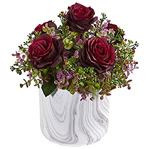 Nearly Natural 1756-BG 13-in. Roses & Eucalyptus Artificial Marble Finished Vase Silk Arrangements Burgundy 31