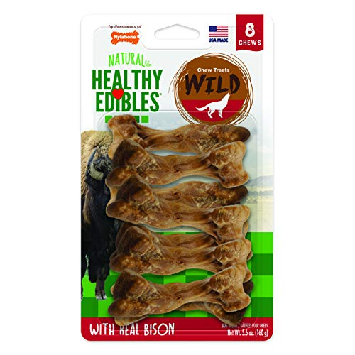 Nylabone Healthy Edibles Wild Bison Dog Treats | All Natural Grain Free Dog Treats Made In the USA Only | Small and Large Dog Chew Treats | 8 Count