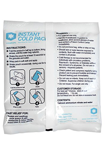 """IceWraps 5"""" x 6"""" Instant Cold Breakable Ice Packs - Emergency Disposable First Aid Ice Packs - Bulk Case of 50 by IceWraps (Image #7)"""