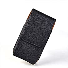 LIKESEA Magnetic Closure Holster Bag Protective Leather Pouch Belt Buckle Clip Case Flip Cover for Apple iPhone 4/ 4S/ 3G/ 3GS, Sony Xperia U, Nokia Lumia 610, HTC One V - Black