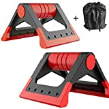 HITUN Portable Crossfit Pushup stands Fitness Foldable Push-up Bars Stable Triangle Stand Non-slip Handles Comfortable Foam Grip for Man and Women Training Exercise Workout (Red)