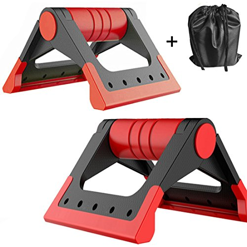 HITUN Portable Crossfit Pushup stands Fitness Foldable Push-up Bars Stable Triangle Stand Non-slip Handles Comfortable Foam Grip for Man and Women Training Exercise Workout (Red) by HITUN
