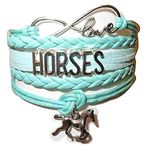 Electrobuyonline Horse Bracelet Gift Girls, Horse Jewelry, Infinity Bracelet Horse Charm, Girls Gifts,Teen Gifts Pony Loving Girls, Birthday Gifts Girls, Horse Gifts (Green)