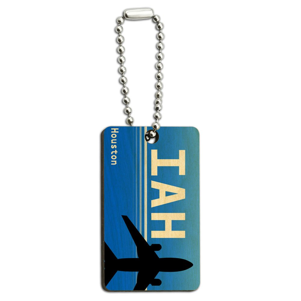 Houston TX - Intercontinental (IAH) Airport Code Wood Wooden Rectangle Key Chain
