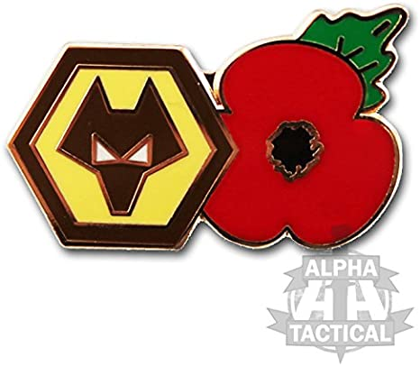 Lest we forget Wolverhampton football club Poppy pin badge High quality