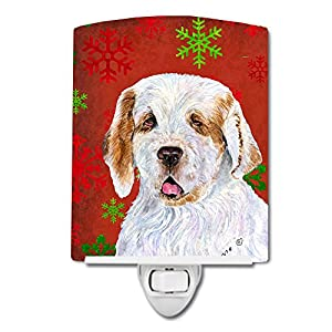 Caroline's Treasures SS4707CNL Clumber Spaniel Red and Green Snowflakes Holiday Christmas Ceramic Night Light, 6x4x3, Multicolor 10