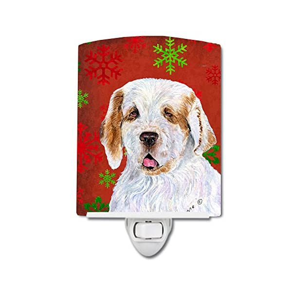 Caroline's Treasures SS4707CNL Clumber Spaniel Red and Green Snowflakes Holiday Christmas Ceramic Night Light, 6x4x3, Multicolor 1