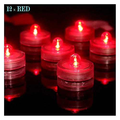 Bright LED Battery Operated Flameless Tea Light, Submersible Tea Candle Waterproof Decorations Underwater Vase Light for Party and Wedding, Pack of 12, Red ()