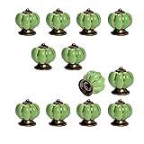12pcs Pumpkin Ceramic Drawer Pulls Yazer Cute Stylish Elegant Knobs and Handles for Cabinet (Green)