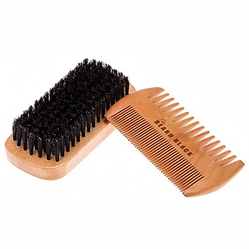 Black Mustache And Beard Kit (Natural Boar Bristle Beard Brush and Handmade Beard Comb Kit for Men Beard and Mustache by The Beard Black)