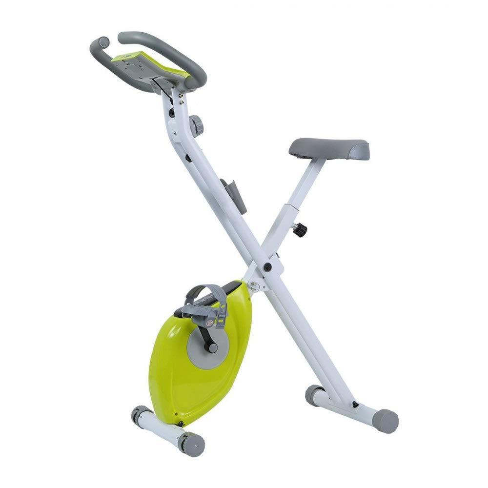 自己フィットネス ジム設備 機能的 フィットネスカーディオ減量ワークアウトマシン付き折りたたみトレーニングスピニングバイクと楕円クロストレーナー (色 : 緑, サイズ : Free Size) 緑 Free Size