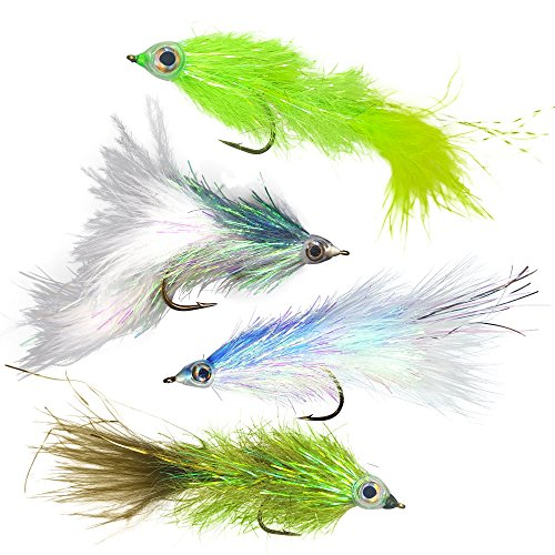 The Fly Crate Shumaker's Shimmering Minnow Articulated Streamer Assortment | Size 2 Fly Fishing for Trout Bass Pike | 4 Flies (Full (Pike Streamer)