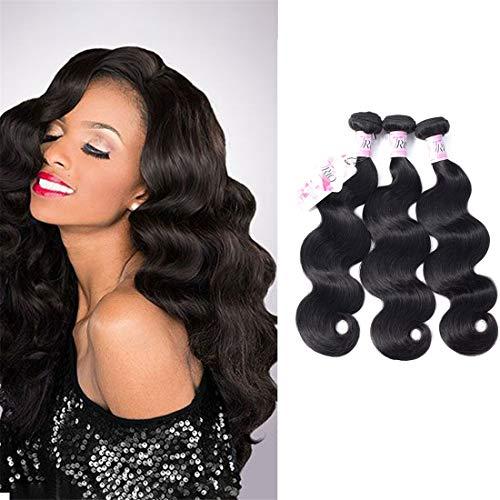 TRIO Brazilian Human Hair Bundles (10 12 14 Total 300g) Body Wave Bundles 8A Grade 100% Unprocessed Virgin Human Hair Body Wave Double Weft 3 Weave Bundles Natural Black Color
