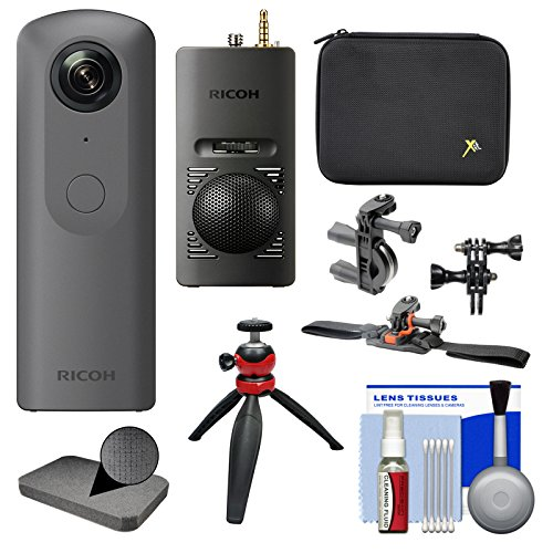 Ricoh Theta V 360-Degree Spherical 4K HD Digital Camera with TA-1 3D Microphone + Case + Action Mounts + Tripod + Kit by Ricoh