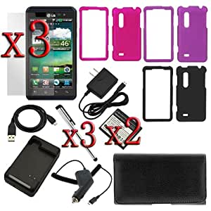 GTMax 3pcs Snap on Hard Rubberized Case + Pouch Case + 2 X Standard Battery + Battery Charger + Car Charger + Travel Charger + Micro USB Data Cable + 3 X Clear LCD Screen Protector +3 X Stylus for LG Thrill 4G (Optimus 3D)