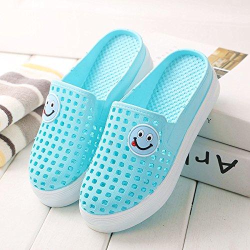 spiaggia la cool di trascinare bagno pantofole grazioso scarpe pendenza di 39 Metà alto con blu foro estate scarpe e spessore Baotou cielo antiscivolo tacco fankou da femmina cqWBZvax