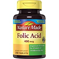Ácido fólico hecho en la naturaleza 400 mcg. Tabletas 250 Ct