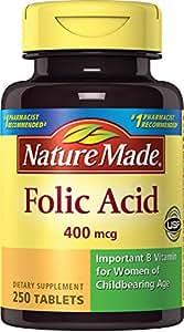 Nature Made Folic Acid 400 mcg. Tablets 3 Pack