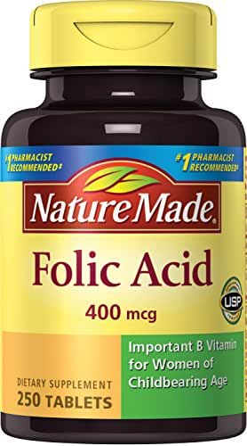 Nature Made Folic Acid 400 mcg. Tablets (Pack of 3)