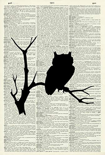 OWL ART PRINT - BIRD ART PRINT - ANIMAL ART PRINT - SILHOUETTE - Vintage Art Print - Illustration - Picture - Vintage Dictionary Art Print - Wall Hanging - -