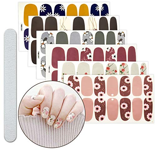 6 Sheets Full Nail Wraps Art Polish Stickers Decal Strips Adhesive False Nail Design Manicure Set With 1Pc Nail Buffers FilesFor Women Girls