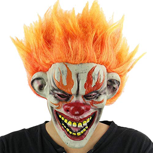 LXIANGP Latex Mask Halloween Masquerade Mask Flame Clown Party Mask Haunted House Props Terror Latex Terror Mask]()
