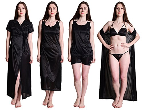 590be4dae4 Noty Women s Satin Nighty - 4 Pc Set- Nighty Robe Top Capri · related- product