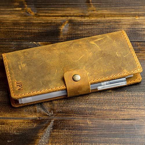 (Pegai Personalized Checkbook Cover, Distressed Leather Checkbook Wallet, Checkbook Case - Clark | Cinnamon Brown)