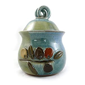 American Made Stoneware Pottery Garlic Keeper Jar with Olive Motif from Modern Artisans