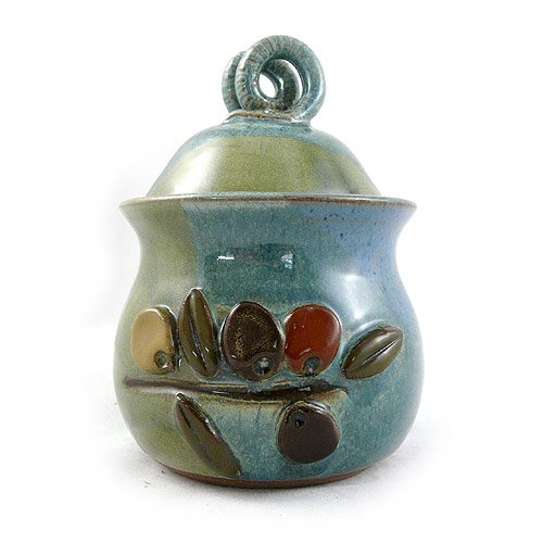 American Made Stoneware Pottery Garlic Keeper Jar with Olive Motif Modern Artisans HD0354