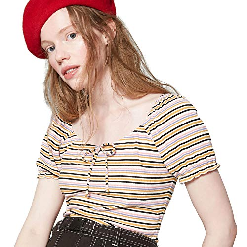 Striped Puff Sleeve Top - Wild Fable Women's Striped Short Sleeve Feminine Puff Sleeve Shirt Top (Large, Striped)