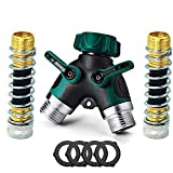 SPWIS 2 Way Hose Splitter Y Garden Hose Connector Metal Body,3/4 Connector,Faucet Adapter with Comfortable Rubberized Grip,2 Faucet Extension Hose Protector,4 Washers