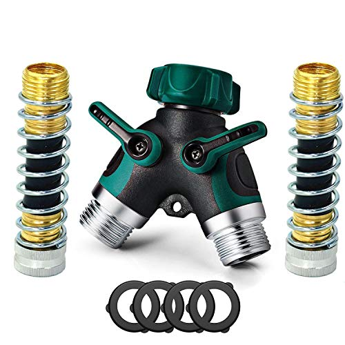 SPWIS 2 Way Hose Splitter Y Garden Hose Connector Metal Body,3/4 Connector,Faucet Adapter with Comfortable Rubberized Grip,2 Faucet Extension Hose Protector,4 Washers by SPWIS