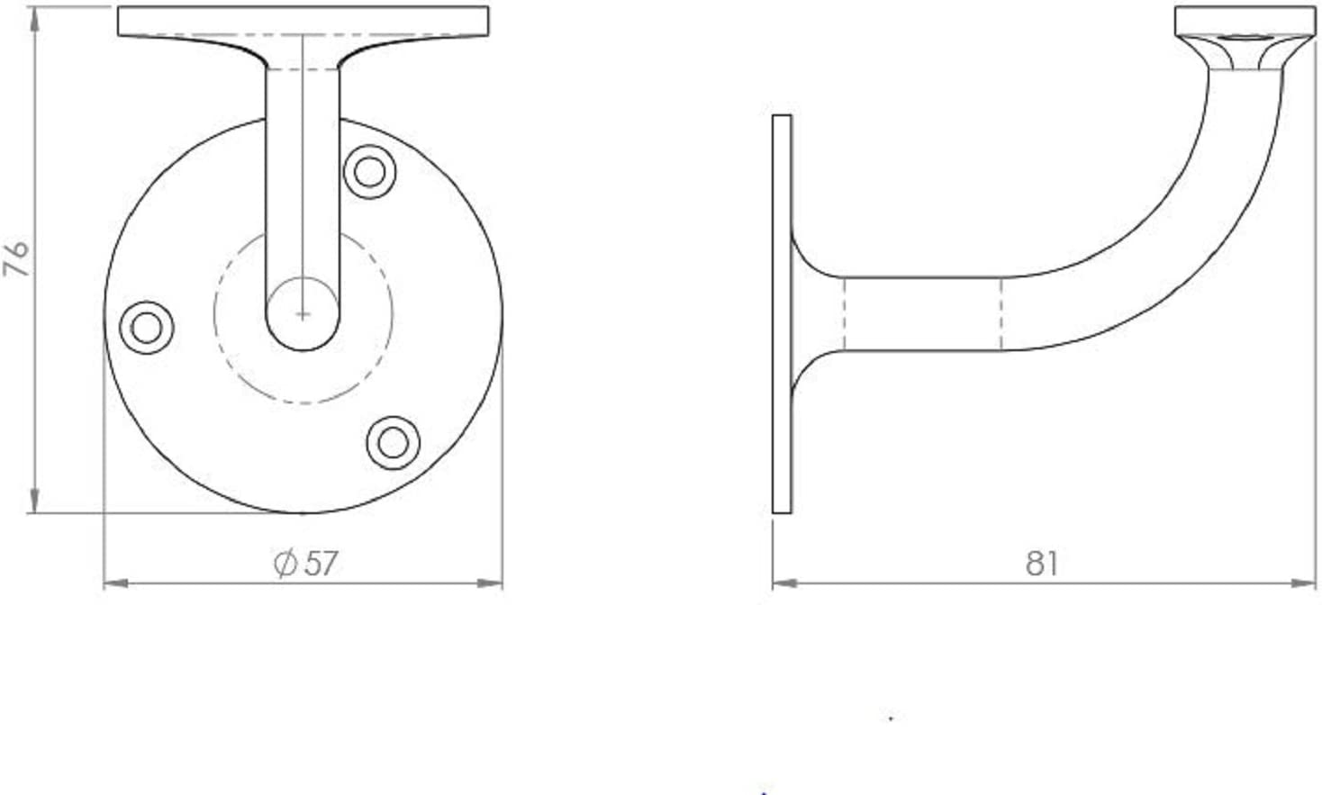 Carlisle Brass Quality AA84 Heavyweight Handrail Bracket 64mm Polished Chrome