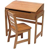 Lipper International 564P Childs Slanted Top Desk & Chair, Pecan Finish