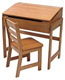 Lipper International 564P Child's Slanted Top Desk & Chair, Pecan Finish
