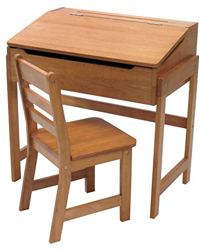 Lipper International 564P Child's Slanted Top Desk & Chair, Pecan (P Top Desk)