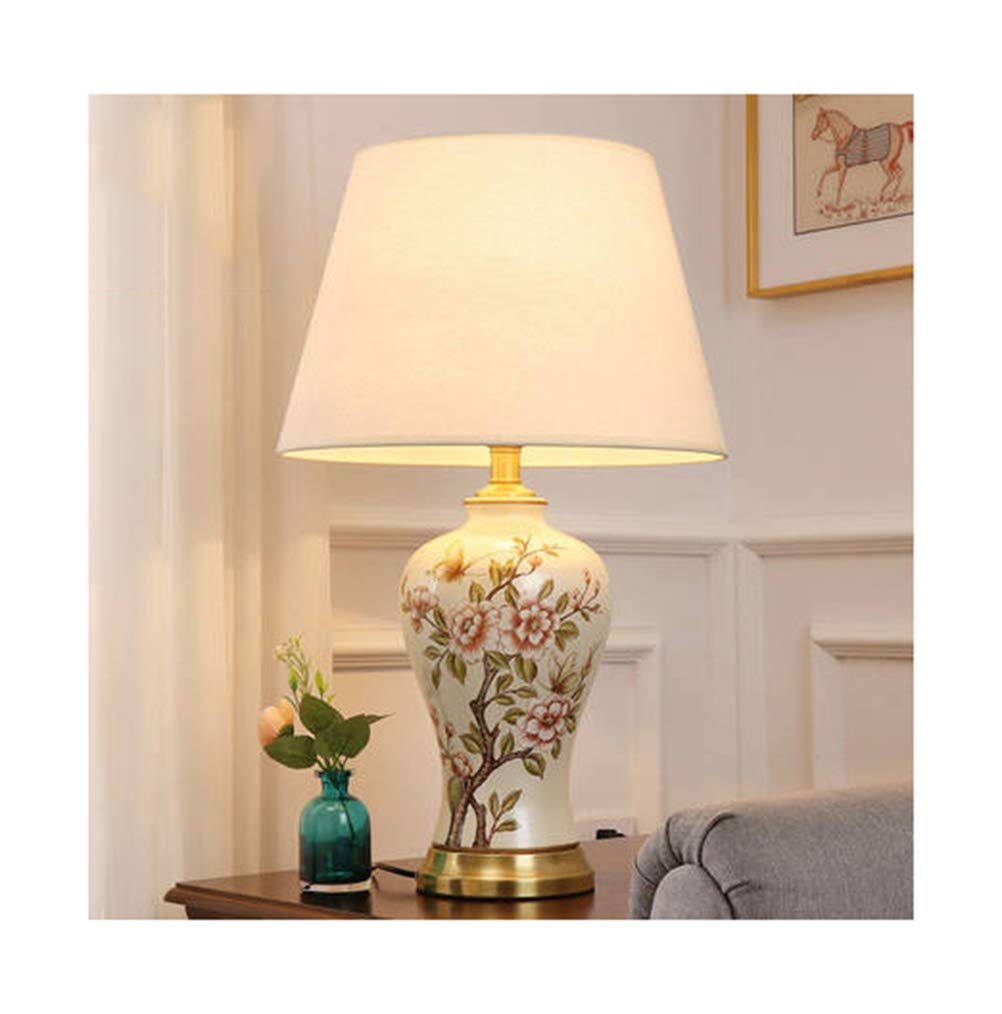 PPWAN テーブルランプ新しい中国風のリビングルームセラミックランプの電気スタンドロマンチックな家の調光対応読書ランプの寝室 -4823 電気スタンド (色 : C, 設計 : Remote control) B07R4GYGLN C ボタン ボタン|C