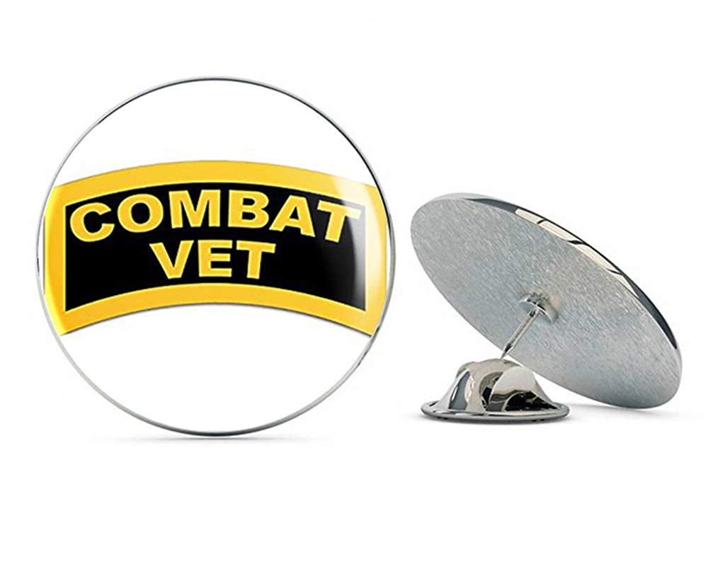 NYC Jewelers Yellow and Black TAB Shaped Combat Vet (Military Veteran Army) Metal 0.75' Lapel Hat Pin Tie Tack Pinback