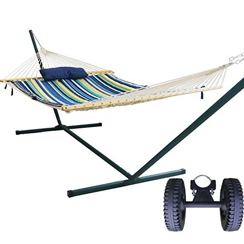 Prime Garden 2 person Rust Resistant 15FT. 4-Piece Heritage Hammock Essential Package, Hammock Stand Wheel Kit included,Weight Limit 450 lb