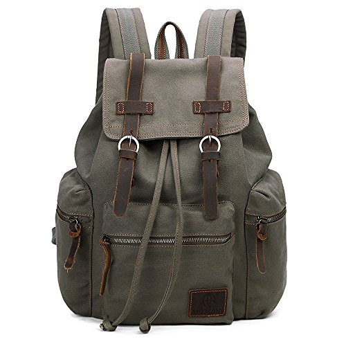 Vintage-Canvas-Backpack-Outdoor-Hiking-Travel-Rucksack-19L