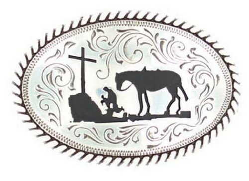 Nocona Boys' Cowboy Prayer Belt Buckle Silver One Size