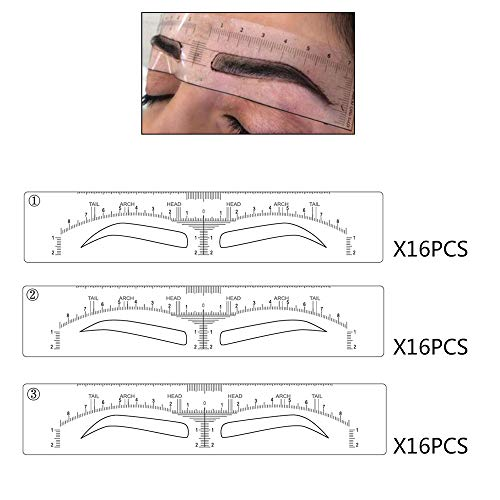 3 Different Shapes Microblading Mapping Ruler Sticker