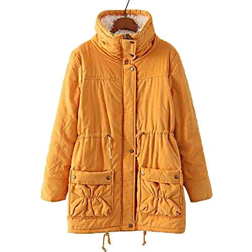 con Abrigo naranja de las abrigo piel cálido de mujeres capucha de lana invierno de de de invierno chaqueta sintética qFqnUfEx