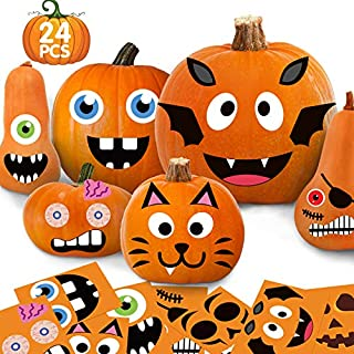 Funnlot 24Sheet Pumpkin Decorating Stickers Halloween Face Stickers Halloween Pumpkin Stickers Jack O Lantern Stickers Pumpkin Stickers for Kids Halloween Party Favors