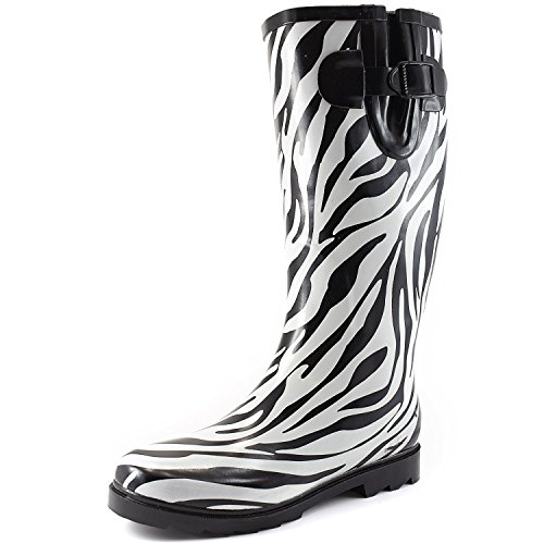 DailyShoes Women's Puddles Rain and Snow Boot Multi Color Mid Calf Knee High Rainboots,Zebra 5 B(M) ()