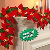 JH Smith Co Cordless Lighted Poinsettia Garland,Red