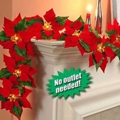 Cordless Lighted Poinsettia Garland (red) (Mantel Christmas)