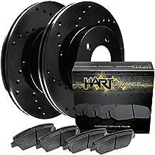 2003-2011 Town Car Rear Black Hart Drilled Brake Rotors Disc and Ceramic Pads