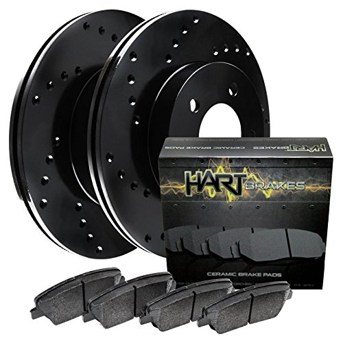Fits 87-89 300ZX Front Black Hart Drilled Brake Rotors Disc and Ceramic Pads (Brake 88 Drilled 87 89)